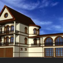 Дом по ул.Ахматовой. Дизайн фасадов. Лицевой кирпич.